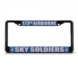 173rd-AIRBORNE-SKY-SOLDIERS-MILITARY-Black-Metal-License-Plate-Frame-Tag-Border-0