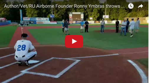 RU Airborne Founder Throws First Pitch at Veterans Appreciation Night