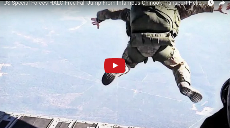 US Special Forces HALO Free Fall Jump From Infamous Chinook Transport Helicopter