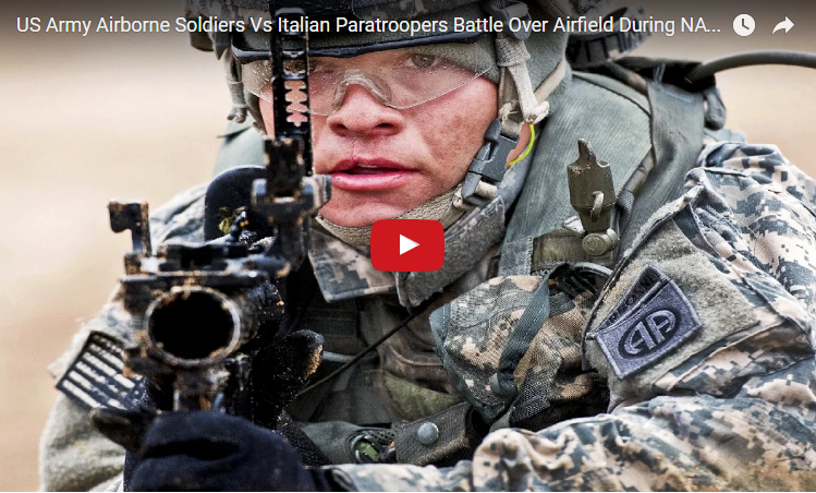US Vs Italian Paratroopers Battle Over Airfield – NATO Training Excercise