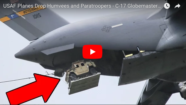 USAF Drops Humvees & Paratroopers from C-17 Globemaster & C-130 Hercules