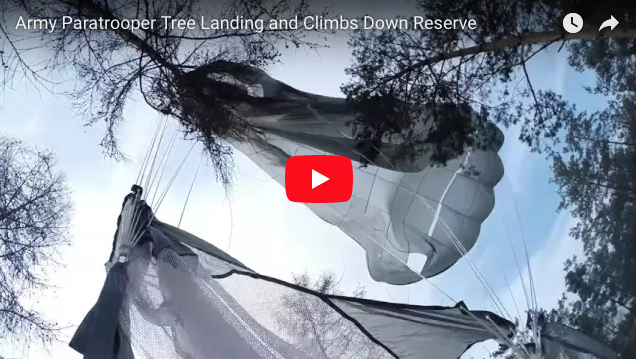 [VIDEO] Army Paratrooper Lands in Tree and Climbs Down Reserve!