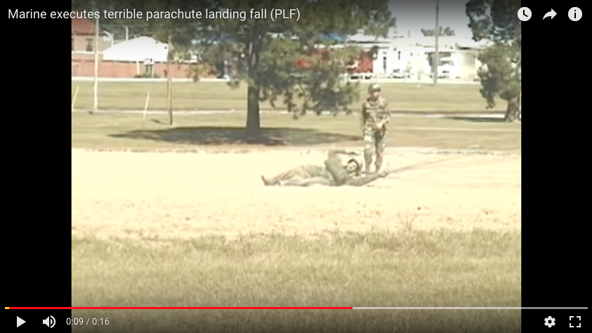 [VIDEO] Marine executes terrible parachute landing fall (PLF)