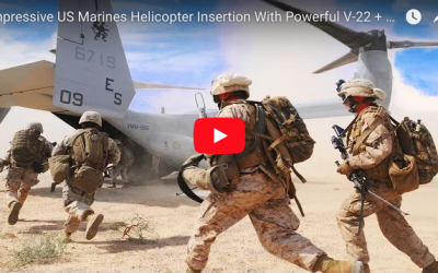 US Marines Helicopter Insertion with Powerful V-22 + Jump