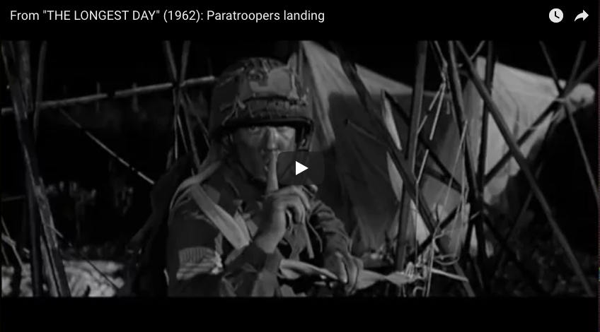 "Scene from ""THE LONGEST DAY"" (1962): Paratroopers landing"