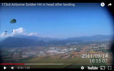 173rd Paratrooper Hit in Head with Ruck Sack After Landing