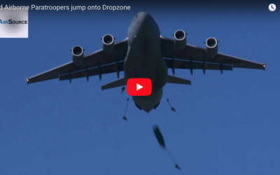 82nd Airborne Paratroopers jump onto Dropzone
