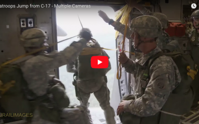 Multiple Cameras Catch Paratroopers Jumping from C-17