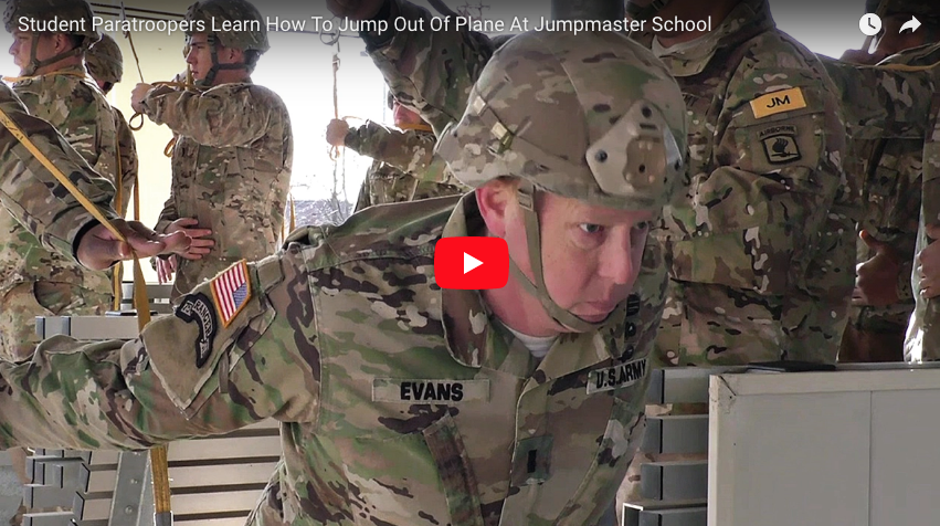 Student Paratroopers Learn How To Jump Out Of Plane