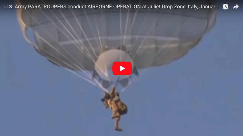 U.S. Army PARATROOPERS conduct AIRBORNE JUMP at Juliet Drop Zone, Italy