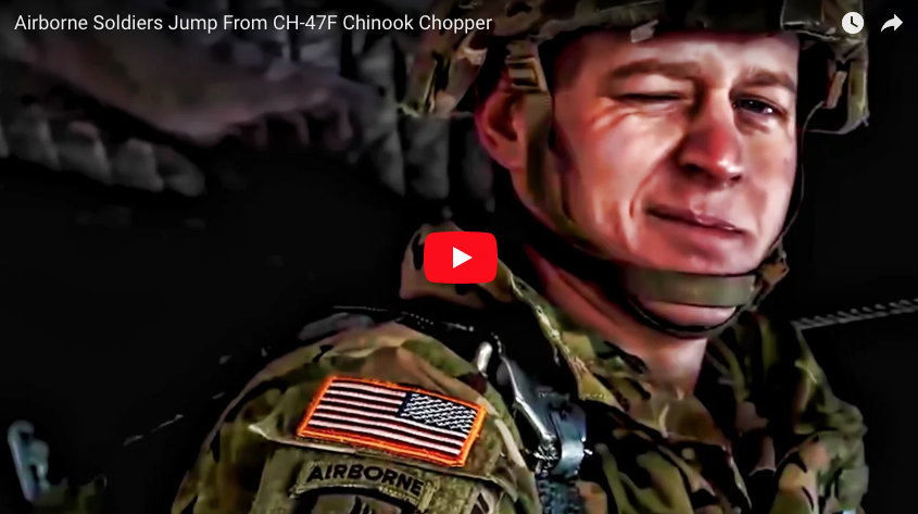 Paratroopers Jump From CH-47F Chinook Chopper