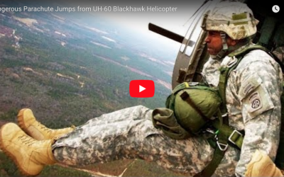 Parachute Jumps from UH-60 Blackhawk Helicopter
