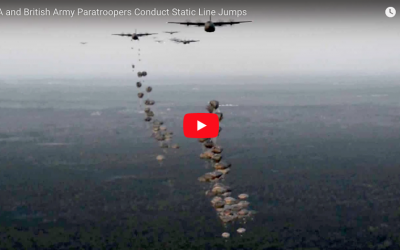 US and British Paratroopers Conduct Static Line Jumps