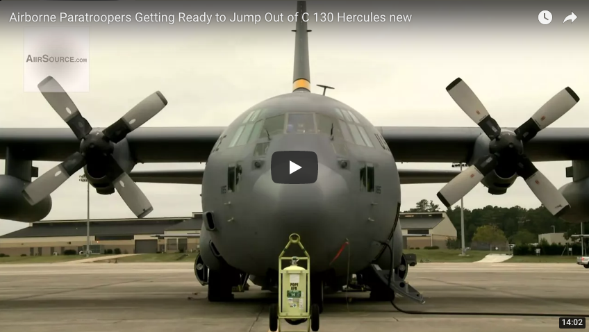 Airborne Paratroopers Getting Ready to Jump Out of C 130 Hercules new