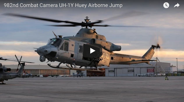 982nd Combat Camera UH-1Y Huey Airborne Jump