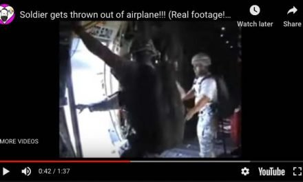 Soldier gets thrown out of airplane! Real Airborne footage