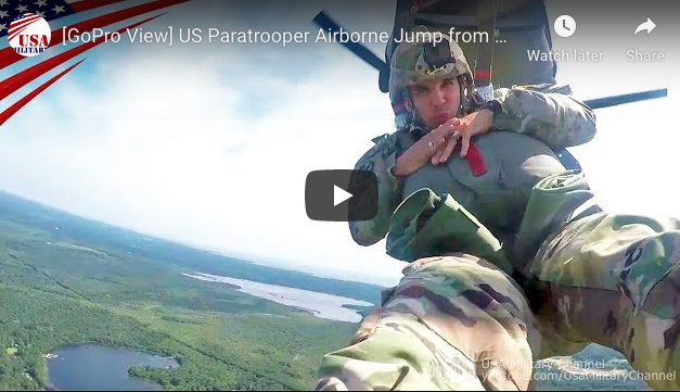 US Paratrooper Airborne Jump from CH-47 Chinook Using MC-6 Parachute