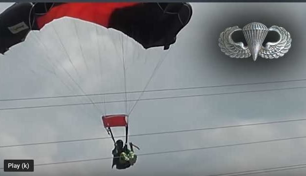 Parachutist Turns Directly into Live Wires