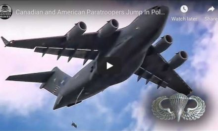 Canadian and American Paratroopers Jump In Poland