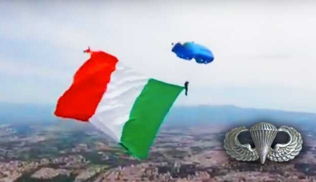 Italian Paratrooper Supports Italy's COVID-19 Fight With Skydive