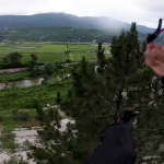 Base jumper pulls Parachute WAY too low –  Hits Trees