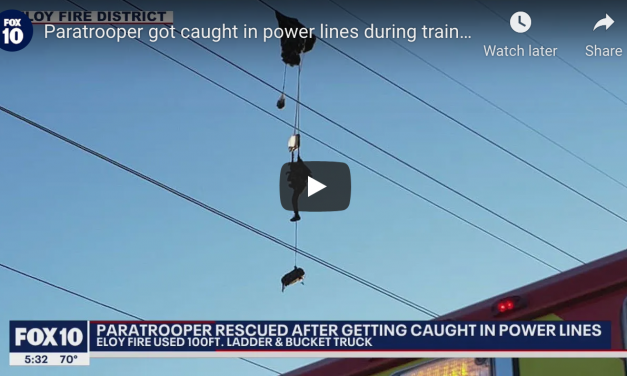 Paratrooper Got Caught in Power Lines During Training Exercise